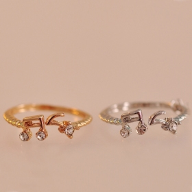 Musical Note Rhinestone Unique Band Rings for women