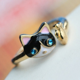 Korean Fashion Trendy Rhinestone Cat Personalized Animal Ring