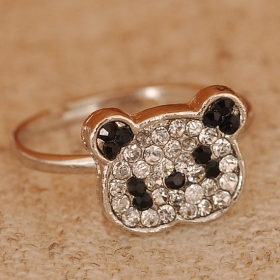 Chic Lovely Bling Panda Rhinestone Animal Rings