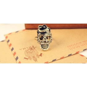 Skull with Black Hat Rhinestone Costume Cocktail Rings