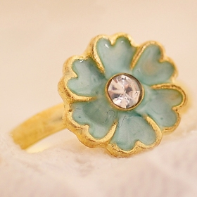 Ladies Cute Rhinestone Elegant Colorful Enamel Flower Ring