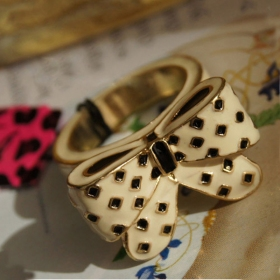 Chic Lovely Butterfly Color Ceramic Glaze Band Ring