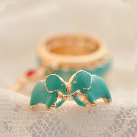 Blue Elephant Leaf Key Animal Band Ring Set