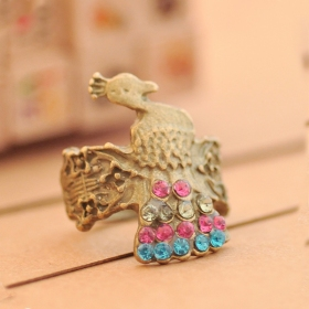 National Peacock Multicolor RhineStone Cocktail Ring Animal