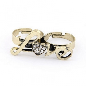 Classical Rhinestone Love Vintage Double Ring