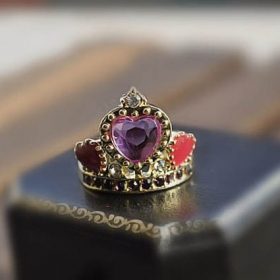 Antique Color Ceramic Glaze Crown Purple diamond Heart Cocktail Rings