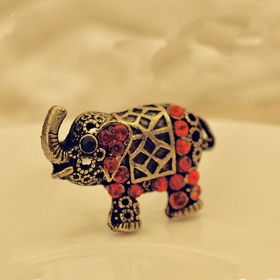 National Red Rhinestone Elephant Shape Animal Ring