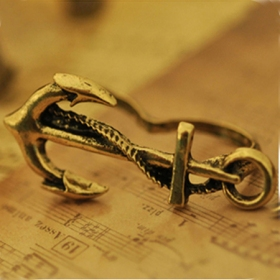 European Style Vintage Navy Anchor Double Ring