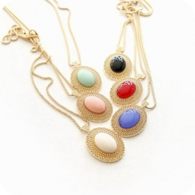 Hollowed Oval big Gemstone Ladies' Long Chain Necklace