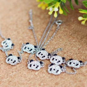 Lovely Panda Shape Ladies Choker Pendant Necklace
