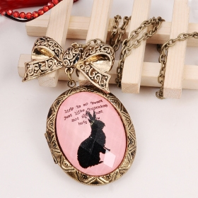 Cintage Pink Bow Rabbit Photo Box Style Chain Necklace