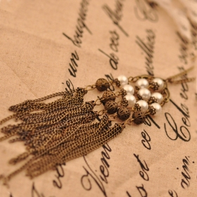 Vintage Long Tassel Pearl Chic Elegant Pendant Chain Necklace
