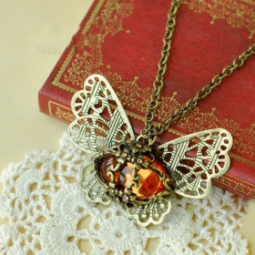 Vintage Hollowed Butterfly Gems Long Pendant Chain Necklace