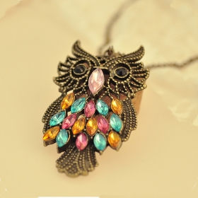 Vintage Multi-color Owl Shape Lovely Ladies' Chain Necklace
