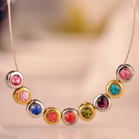 Vintage Multicolor Bling Pendant Chain Necklace