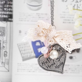 Bohemia  Antique Heart Words Pearl Chain Necklace