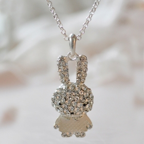 Lovely Fashion Bling Rhinestone Rabbit Pendant Choker Necklace