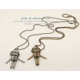 Vintage Lovely Robot Pendant Sweater Necklace For Women