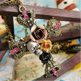European Style Vintage Cross Rose Skull Sweater Pendant Necklace
