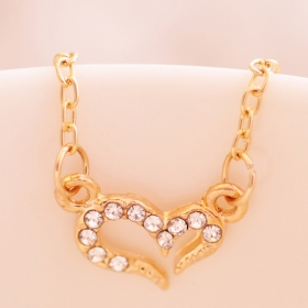 Fashion Golden/Silver Heart Rhinestone Chain Pendat Necklace