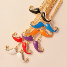 Exquisite Colorful Diamond Mustache Long Chain Necklace
