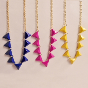 Fluorescence Color Fashion Triangle Bib Necklace