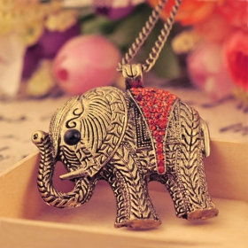 Vintage Colorful Diamond Elephant Long Chain Necklace