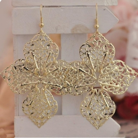 Vintage Alloy Bohemian Style Hallowed Leaf Big Drop Earrings