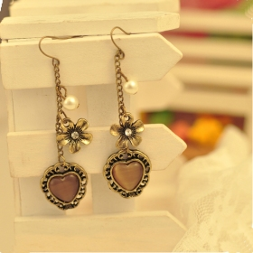 Vintage Heart Shape with Flower Trendy Drop Earrings for Women