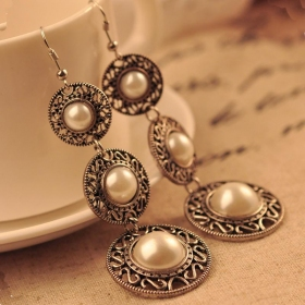 National Jewelry Pearl Vintage Hat Shape Long Drop Dangle Earrings
