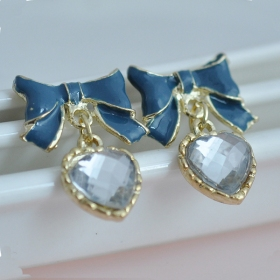 Fashion Jewelry Blue Bowknot Crystal Resin Drop Earring