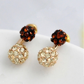Fashion Simple Double-color Bling Drop Earring with Crystal Balls