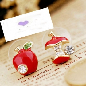 Personalized Red Asymmetric Apple Trendy Stud Earrings