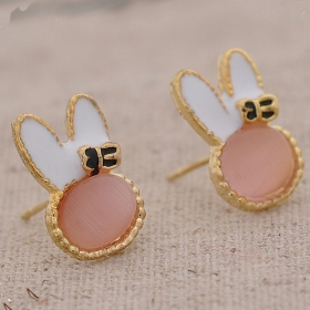 Lovely Resin Rabbit Shape Cute Stud Earrings for Girls