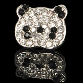 Silver Panda Chic Simple Rhinestone Cute Stud Earrings