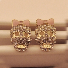 Vintage Pink Bowknot Skeleton Head Cool Stud Earrings For