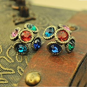 Vintage National Weaving Flower Stud Earrings for Ladies