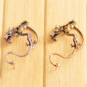 Punk Style Fashion Heavy Metal Dragon Shape Stud Earrings