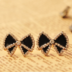 Fashion Black White Bowknot Rhinestone Stud Earrings