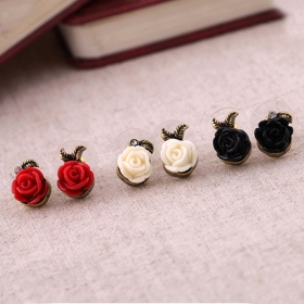 Vintage Rose Flower Stud Earrings