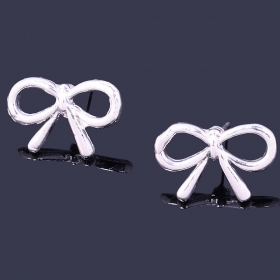 Simple Hollowed Silver Bowknot Stud Earring