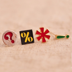 Vintage Classic Punctuation Shape Stud Earring With 4pcs