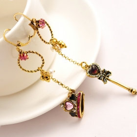 European Style Fashion Asymmetric Crown Magic Rod Dangle Earring