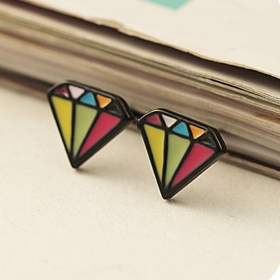 Lovely Multicolor Diamond Shape Stud Earrings