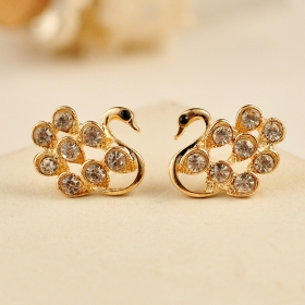 Lovely Gold Plated Alloy Gem Cygnet Stud Earring