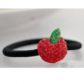 Lovely Red Rhinestone Apple Style Ponytail Holders
