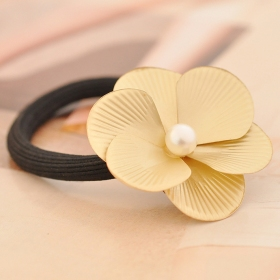 Golden Simple Pearl Bud Alloy Flowers Ponytail Holders