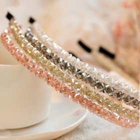Handmade Knitting Shining Crystal Rows Headbands