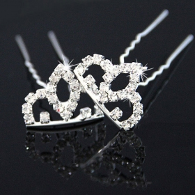 Exquisite Silver Crown Rhinestone Hair Pin