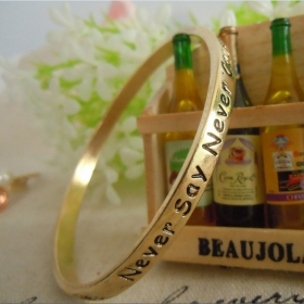 Ladies' Vintage Wishful Words Simple Bangle